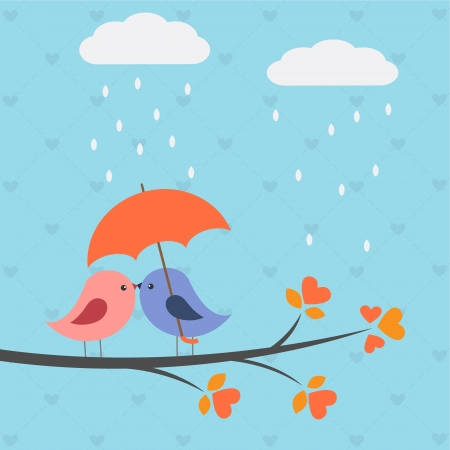 Birds under umbrella.Romantic autumnal card  Vector