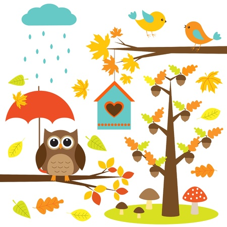 Birds,trees and owl. Vector