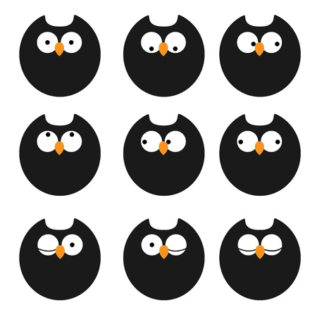 set of icons owls