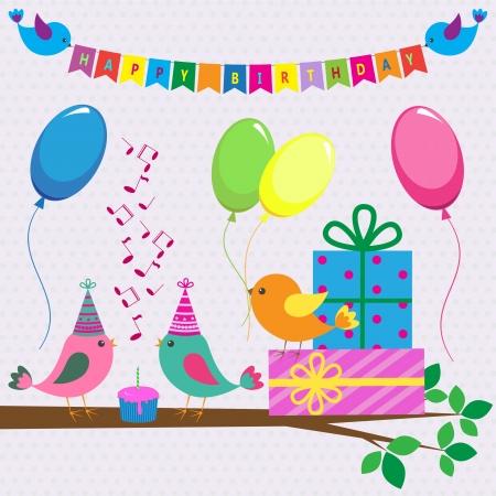 torte compleanno: carta di compleanno con gli uccelli carino Vettoriali