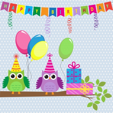 owl cartoon: birthday card with cute owls Illustration