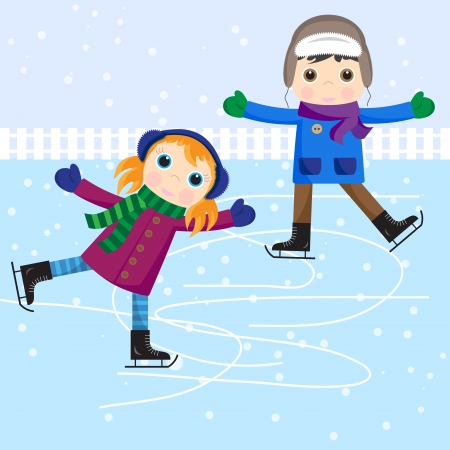 ice skating: Patinage sur glace petite fille et gar�on