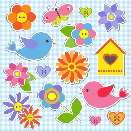 birdhouse: Birds and flowers. Vector set of stickers Illustration