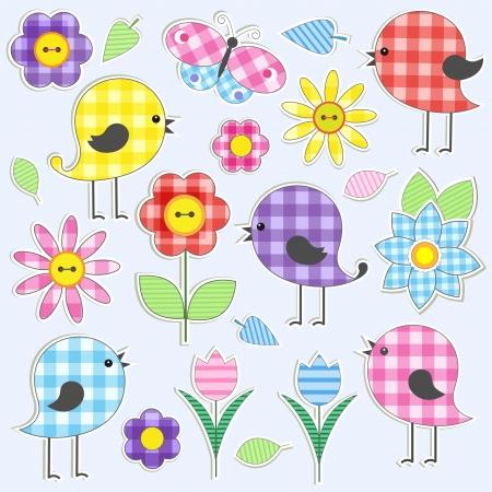 flor caricatura: Pájaros lindos y flores. Vector conjunto de etiquetas textiles
