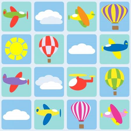 Air transportation. Seamless  pattern Vector