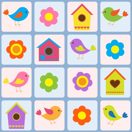 patchwork: Birds, flowers and birdhouses. Seamless  pattern