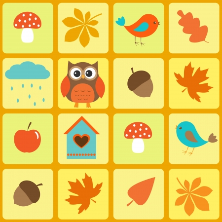 mushroom cloud: Birds,owl and autumnal leaf. Seamless  pattern Illustration