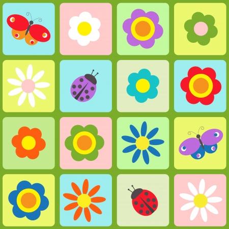Flowers, butterflies and ladybugs. Seamless  pattern Vector