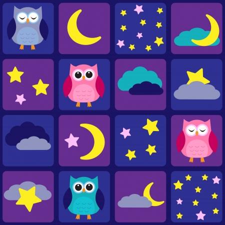 buonanotte: Cielo notturno con gufi. Seamless pattern