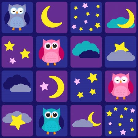 Night sky with owls. Seamless pattern