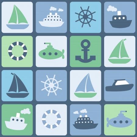 Sea transport. Seamless in retro colors Vetores