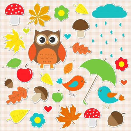 set of autumnal stickers Vector