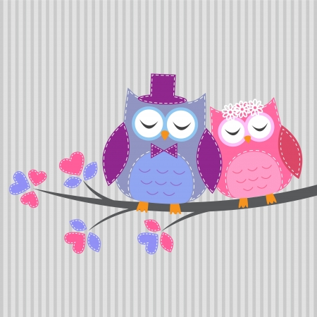 Couple owls in love.Vector card in handiwork style