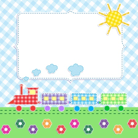 Frame with cartoon train Illustration