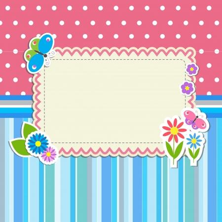 귀여움: 꽃과 나비와 함께 프레임 일러스트