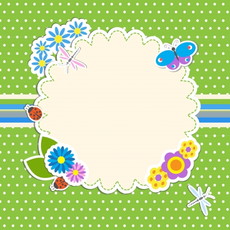 Frame with flowers and butterfly, ladybug,dragonfly Illustration