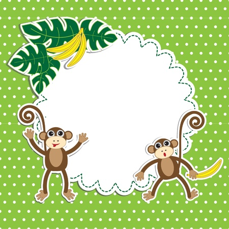 banana caricatura: Marco con monos divertidos Vectores