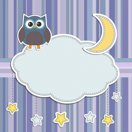 baby scrapbook: Frame with owl,moon and stars Illustration
