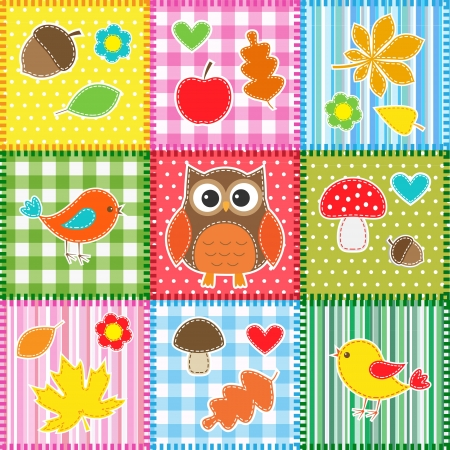 applique: Autumn background with leaves,acorns,birds and owl