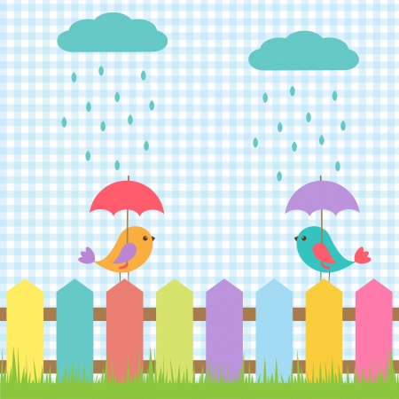 Background with birds under umbrellas Stock Vector - 15028349