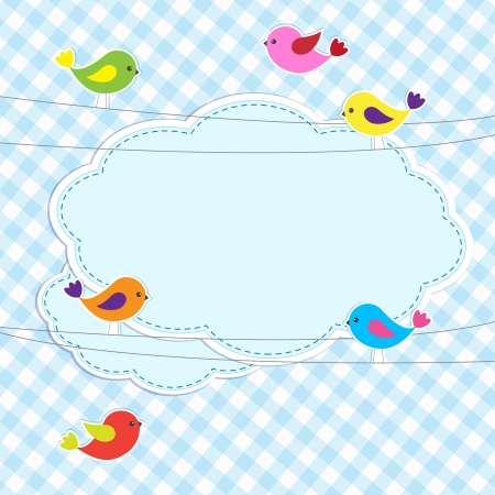 baby scrapbook: Frame with birds on wires