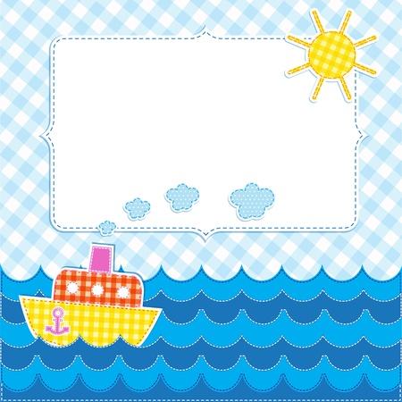 Frame with cartoon ship. Ilustração