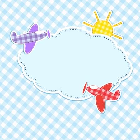 Cadre avec des avions colorés Vecteurs