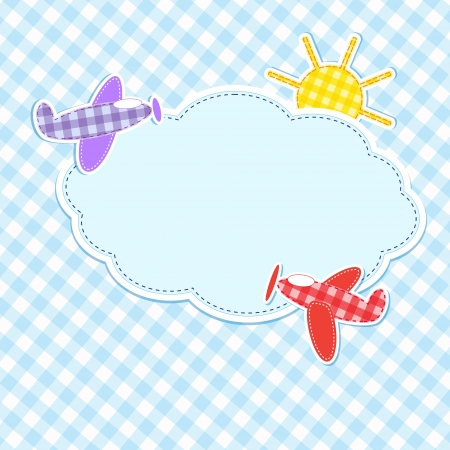 Frame with colorful aeroplanes Illustration