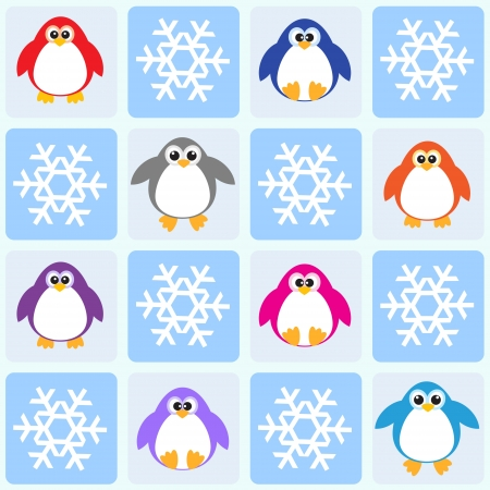 Penguins and snowflakes. Vector