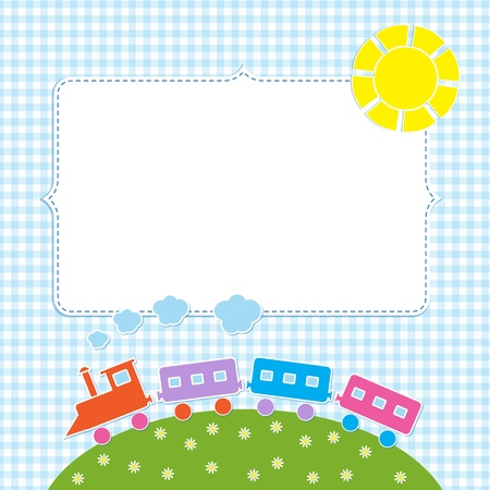 flowers boy: Frame with colorful train Illustration