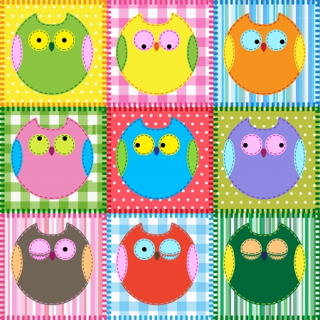 Patchwork background with colorful owls