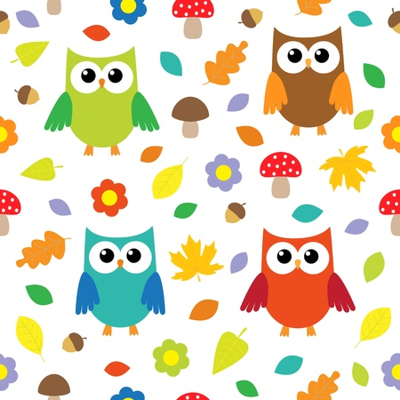 cartoon mushroom: Autumn background with owls. seamless pattern
