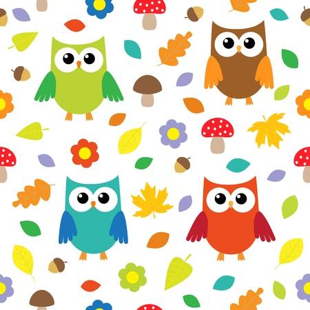 herbstblumen: Herbst Hintergrund mit Eulen. seamless pattern