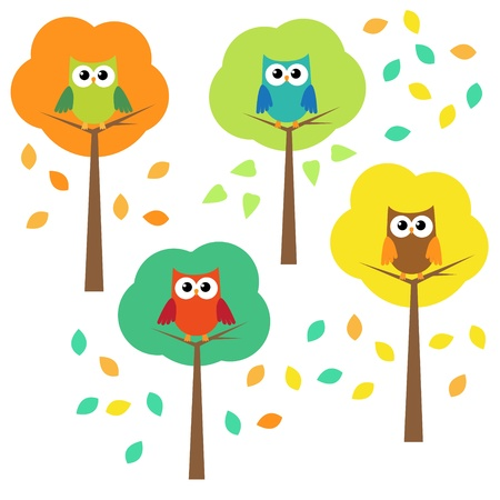 Autumn trees and owls.  Vector