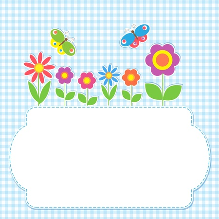 Frame with flowers and butterflies Vector