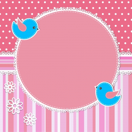 baby romantic: Pink frame with birds and flowers