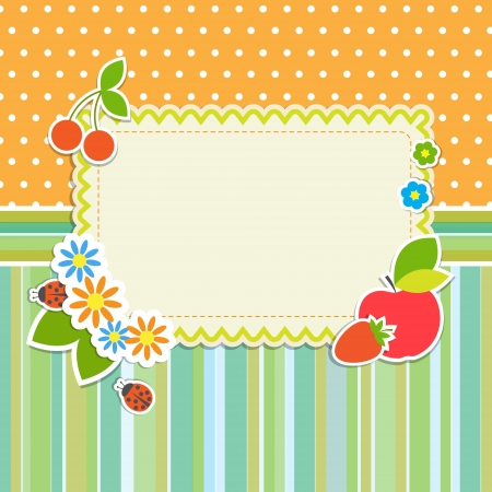 layout strawberry: Frame with flowers and fruits Illustration