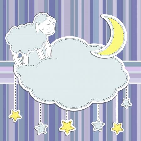 ovejita bebe: Marco con lindo ovejas, la luna y las estrellas Vectores