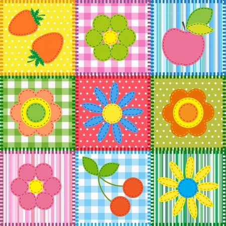 Patchwork with flowers, cherry, apple and strawberry  Vector
