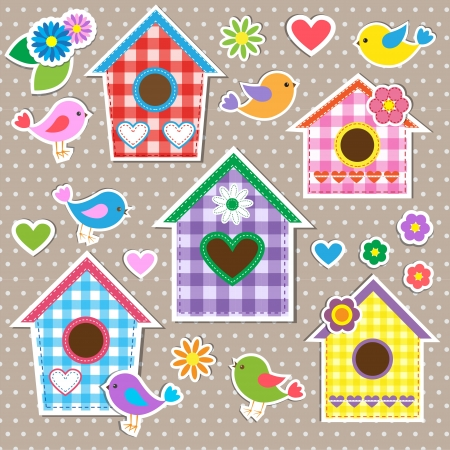 Birdhouses,birds and flowers. Set of stickers Vector