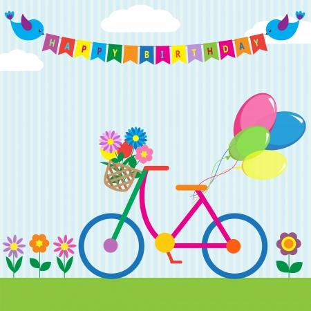 deportes caricatura: Bicicleta colorida con flores y globos