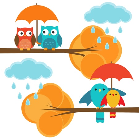 rain cartoon: Couples of owls and birds autumn