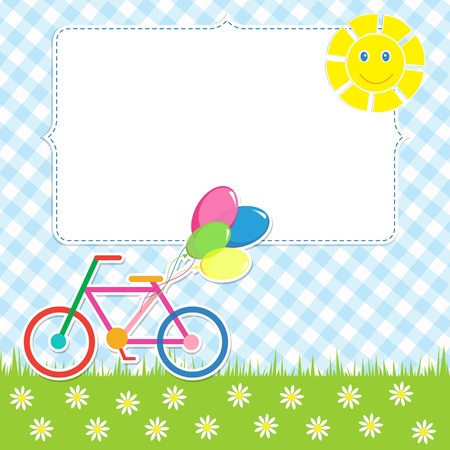 Frame with cute bike Illustration