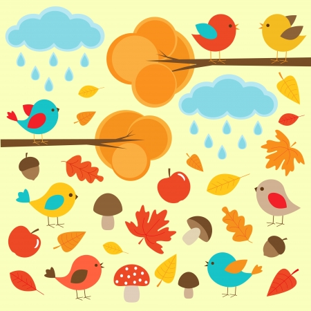 Birds in autumn forest Stock Vector - 15550038