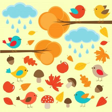 yellow apple:  Birds in autumn forest Illustration
