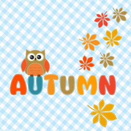 Autumn lettering with cute owl and leaves