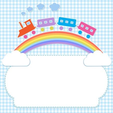 sol caricatura: Capítulo con el tren en el arco iris de colores Vectores