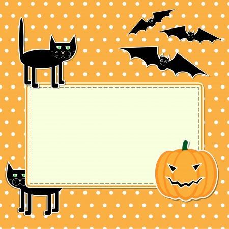 Halloween card with funny black cat Vector
