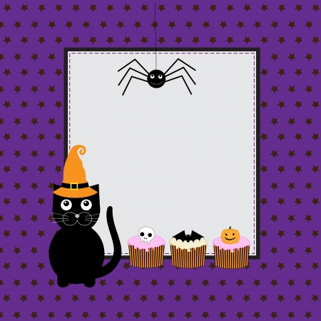 Halloween greeting card with cute black cat Vector