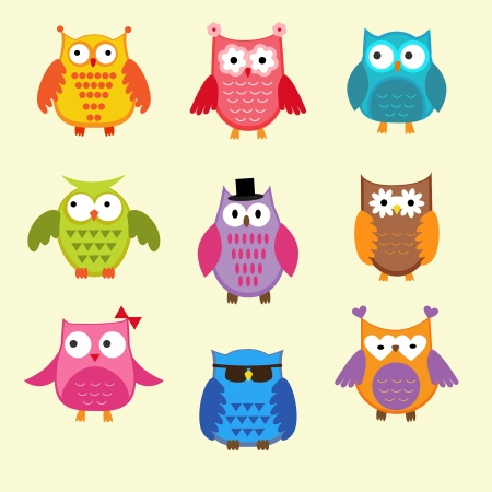 an owl: set of cute owls Illustration